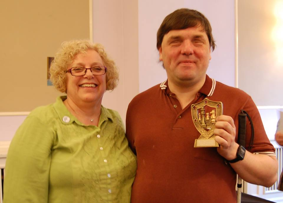 Sally with Chris Ross, winner of the Open