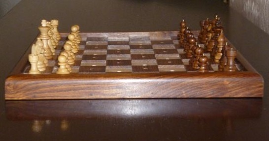 Photograph of Braille chess set