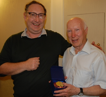Owen Phillips awards prize to Bill Armstrong